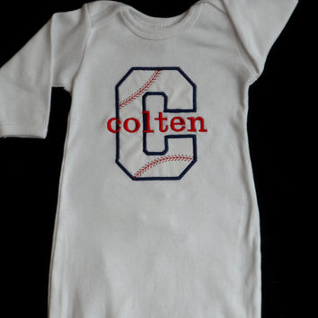 Monogram Baseball Layette Gown Take Me Home Outfit  ..   Baby Boy Clothes Great for Twins ....Sports  Gift Set