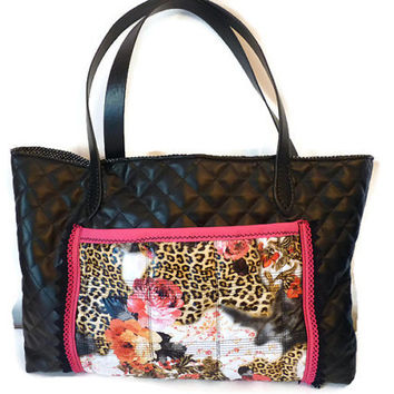 Woman Bag in black quilted fabric / Plasticized Bag  (waterproof outer ), Flowers Tote bag, Shoulder bag, Woman gift