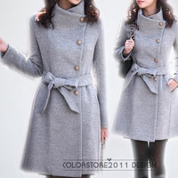 Fashion grey coat for winter