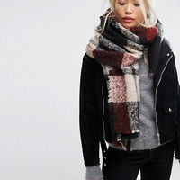 Stitch & Pieces Oversized Check Scarf at asos.com