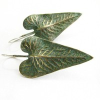 Large Verdigris Philodendron Leaf Earrings - Brass, Sterling Silver Wi