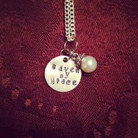 Custom Saved By Grace Necklace by TheEsperanzaShoppe on Etsy