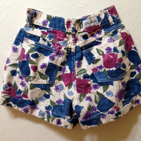 Vintage Floral Printed High Waisted Shorts