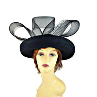 Glory Brim Hat Big Bow Netting Black Ladies