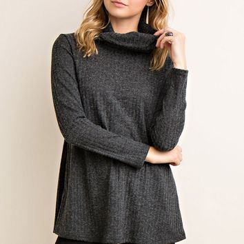 Charcoal Black Ribbed Turtleneck Top