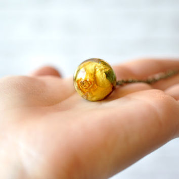 Real Yellow Rosebud Resin Sphere Pendant Necklace - Resin Sphere Necklace - Pressed Flower Resin Jewelry - Real Rose Necklace