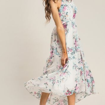 Aurora Off White Floral Halter Dress