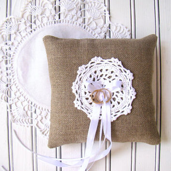 Rustic Wedding Pillow, Ring Bearer Pillow, Ring Cushion, Linen Burlap and White