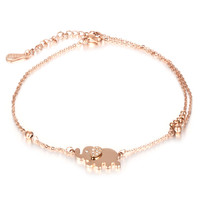 Ms lucky elephant double anklets Titanium steel furnace rose golden elephant plated diamond chain