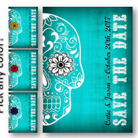 Skull Save the Date Sugar Skull Wedding invitation Card  Digital Download Rockabilly / Day of the Dead / teal turquoise blue aqua  Invite