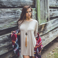 3/4 Sleeve Tunic in Taupe