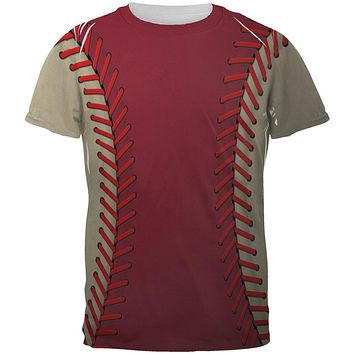 Baseball League Red and Sand All Over Mens T Shirt