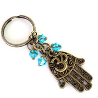 Hamsa Keychain Om Bag Charm Keyring Protection Yoga Accessories Aqua Blue Unique Birthday Gift Under 20 Item G39