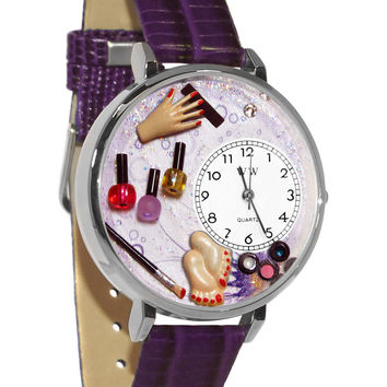 Whimsical Watches Designed Painted Nail Tech silver Leather And Silvertone Watch