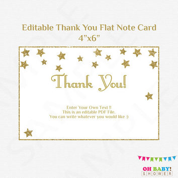 Twinkle Twinkle Little Star Thank you Card Flat Note Card Editable Card Gold Baby Shower Girl Boy Printable Thank Yous, Thanks Download STGG