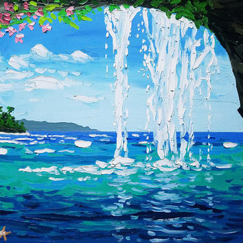 Original Palette Knife Painting Seascape by Ryan Kimba, Fine Art Oils on Canvas, Beach Theme, Wall Decor, Impressionistic, Tropical Sea Cave