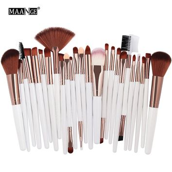 MAANGE 25pcs Makeup Brushes Set Beauty Foundation Power Blush Eye Shadow Brow Lash Fan Lip Face Make Up kabuki Tool Brush Kit