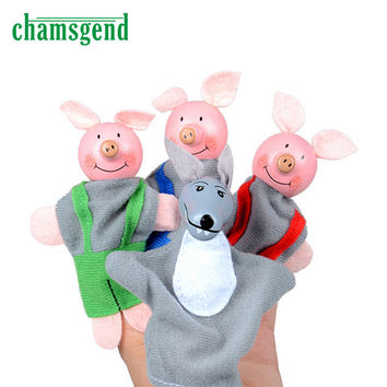 4PCS Three Little Pigs And Wolf Finger Puppets Hand Puppets Christmas Gifts Toy Nov30