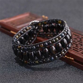 High End Black Agate Ebony Cuff Natural Stone Leather Wrap Bracelet - Exclusive Pronounced Jewelry