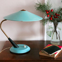 RARE Soviet Desk Lamp / Light Blue Metal & Brass USSR Vintage Library Lamp Shade / Flying Saucer Aqua Table Top Lamp / Reading Side Light