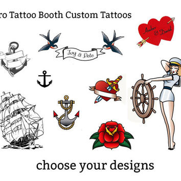 retro customisable temporary tattoos - party favors tattoo booth photo booth