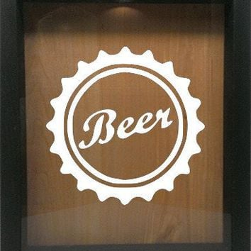 "Wooden Shadow Box Wine Cork/Bottle Cap Holder 9""x11"" - Beer Cap"