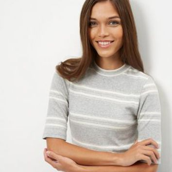 Grey Stripe Funnel Neck 1/2 Sleeve Top