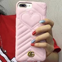 GUCCI Fashion Heart iPhone Phone Cover Case For iphone 6 6s 6plus 6s-plus 7 7plus 8 8plus
