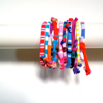 Upcycled Stacking Bracelets Multicolor Tribal Stripes Eco Friendly Fiber Cuff Bracelet Boho Repurposed Clothing