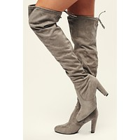 Call Me Faux Suede Thigh High Boots (Grey)