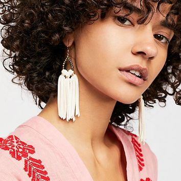 Tahiti Stone Drop Leather Hoop Earrings
