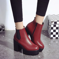 Shoes Women Winter Boots Casual Platform Square Heel Booty Paint Leather Footwear Fashion Motorcycle Boots Women Pump Shoes