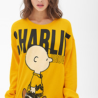 FOREVER 21 Charlie Brown Sweatshirt Mustard/Black Small