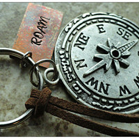 Compass Keyring Roam Copper and Silver Compass Charm Hand Stamped Keychain Key Fob