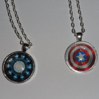 Avengers Captain America/ Iron Man necklace by PracticalPendants