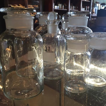 Vintage Lab Glass Apothecary Jars