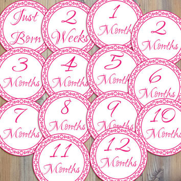 Instant Download - 14 Pink Decorative Border Pattern Girl Infant Newborn Monthly Milestone Stickers and Iron On Printable DIY PDF Files