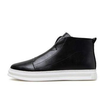 zdrd ankle boots menshoes men wedge boots men pu leather boots solid zip men casual shoe