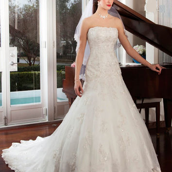 Long Strapless Lace Mermaid Wedding Dresses Sleeveless Backless Exquisite Custom Made Elegant Bridal Gown