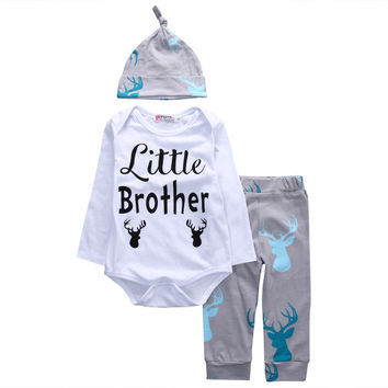 Baby Boys Clothing 3Pcs Newborn Baby Boys Little Brother Rompers Tops+Deer Pants+Hats Outfits Set 2016 Brand New Baby Suits