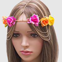 Romantic Roses Draped Head Chain Flower Crown Headband - Fuschia