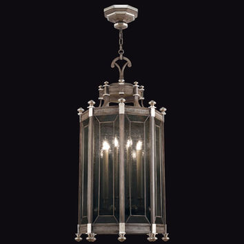 Fine Art Lamps 807640ST Villa Vista Eight-Light Lantern with Hand Painted Driftwood Finish On Metal with Silver Leafed Accents