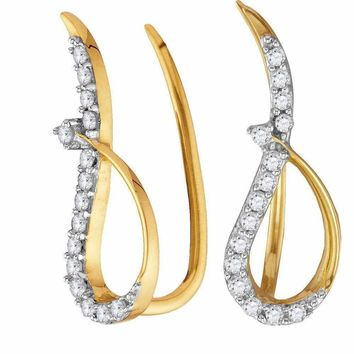 10kt Yellow Gold Women's Round Diamond Climber Earrings 1-5 Cttw - FREE Shipping (USA/CAN)