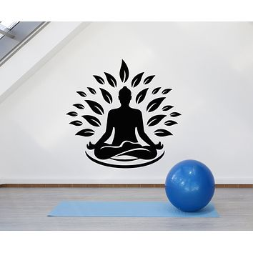 Vinyl Wall Decal Yoga Gym Meditation Room Zen Lotus Pose Stickers Mural (g3024)