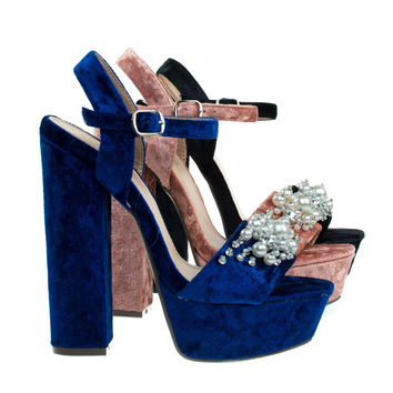 Davies1 Navy Velvet By Bamboo, Pearl On Chunky Block Heel Platform Sandal, Velvet Party Club Shoe