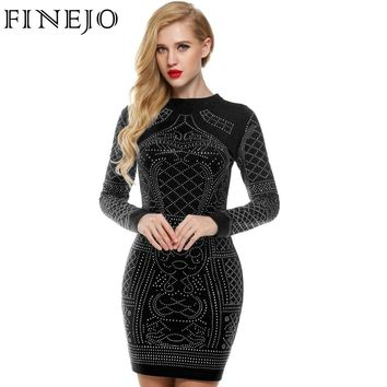 FINEJO Women Autumn Bling Sequin Bodycon Dress Sexy Geometric Retro O-neck Long Sleeve Elegant Bandage Pencil Office Dresses