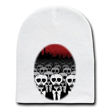 'Dead Suits Skeleton March' Mass of Skulls on the Move - White Beanie Skull Cap Hat
