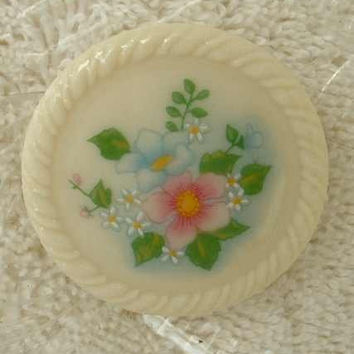 Avon Porcelain Floral Brooch Pin Vintage Jewelry