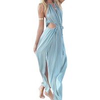 Summer Sexy Women Boho V-neck Sleeveless Beach Maxi Halter Sundress Long Dress (M, Blue)