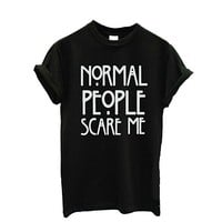 "Women T-Shirt,Haoricu ""Normal people scare me "" Letter Short Sleeve Casual T shirt"